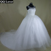 QQ Lover 2017 New Romantic Crystals Beaded Bow Wedding Dress Bridal Gown Custom Made Plus Size