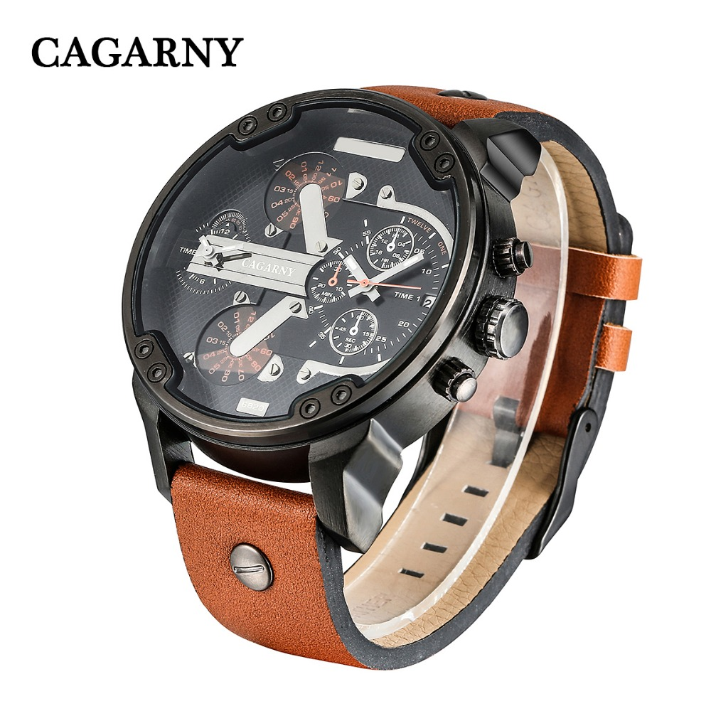 Cool Big Case Men's Watch Date Dual Times Analog Quartz Watch Men Brand Cagarny Leather Strap D6820 Miltiary Relogio Masculino все цены