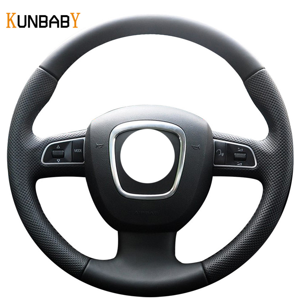 KUNBABY Genuine leather Car Steering Wheel Cover for Audi A3 (8P) 2008-2013 A4 (B8) 2008-2010 A5 2008-2010 A6 (C6) 2007-2011