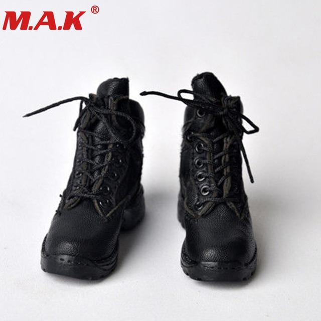 (1 çift) 1/6 ölçekli erkek erkek erkek siyah deri kumaş sapanlar savaş ayakkabı kısa çizmeler için 12 ''adam action figure vücut aksesuarı
