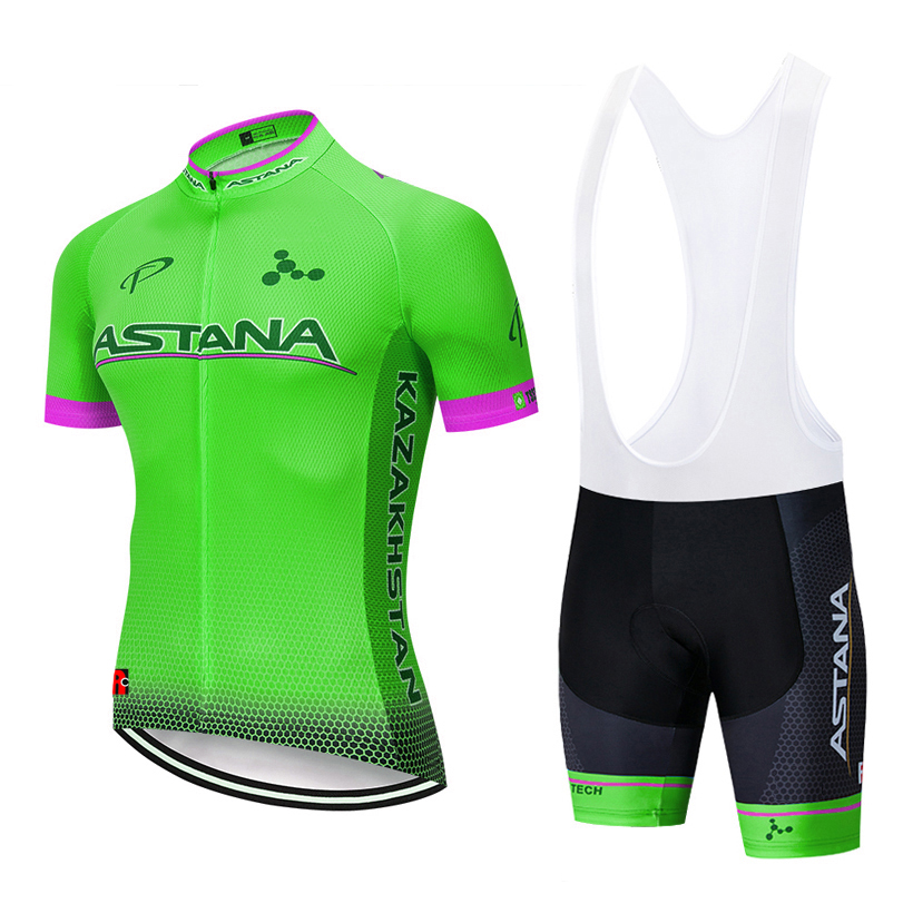 2019 Fluor Green Astana Cycling Clothing Bike Jersey Quick Dry Mens Bicycle Clothes Team Pro Cycling Jerseys 12D Bike Shorts Set