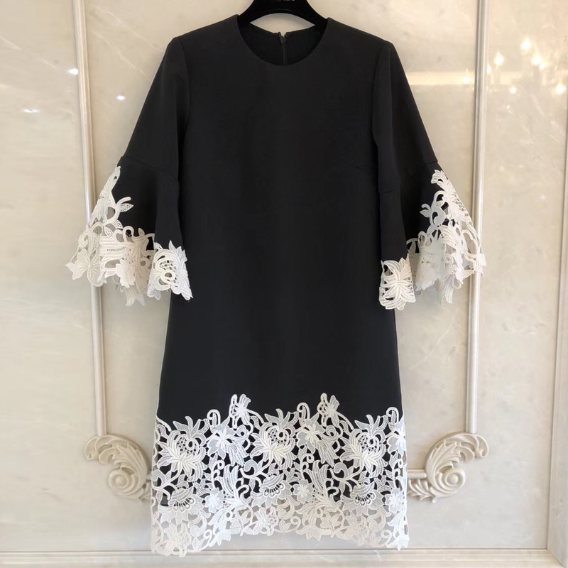 Flower Vintage Dress for Women A-Line Style Spring Summer high Quality Lady Dress 2019 new Women Dress