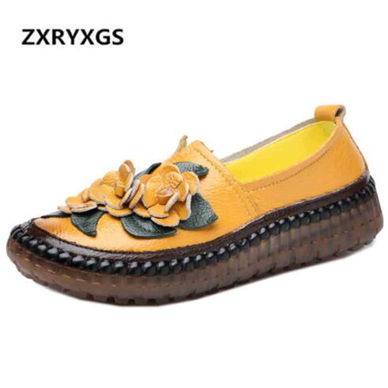 Original Handmade Flower Cowhide Leather Shoes Woman 2018 Autumn New Comfortable Soft Women Flat Shoes Non slip Fashion Shoes