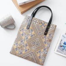 MENOGGA Ecobags New Cotton Bag Retro Design Brocade Pattern Khaki Reusable Shopping Unisex Tote Grocery Free Shipping