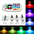 2* Remote Control Car Interior RGB LED Car Dome Reading Light 31mm 36mm 39mm 41mm SMD 5050 Super Bright Lamp Auto Interior Lamp
