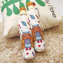 Original niedliche eule 3-falten automatische regenschirm regen frauen, plegable paraguas mujer neuheit artikel gute wahl für geschenk