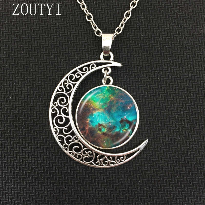 2018 / fashion hot money charm Galaxy Astro Moon Crystal Concave Pendant Necklace jewelry, space universe necklace.