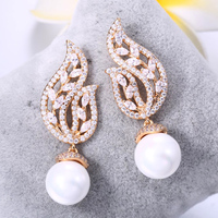 ZHE FAN White Round Simulated Pearl Dangle Earring Jewelry AAA Cubic Zirconia Leaves Shell Pearls Earrings