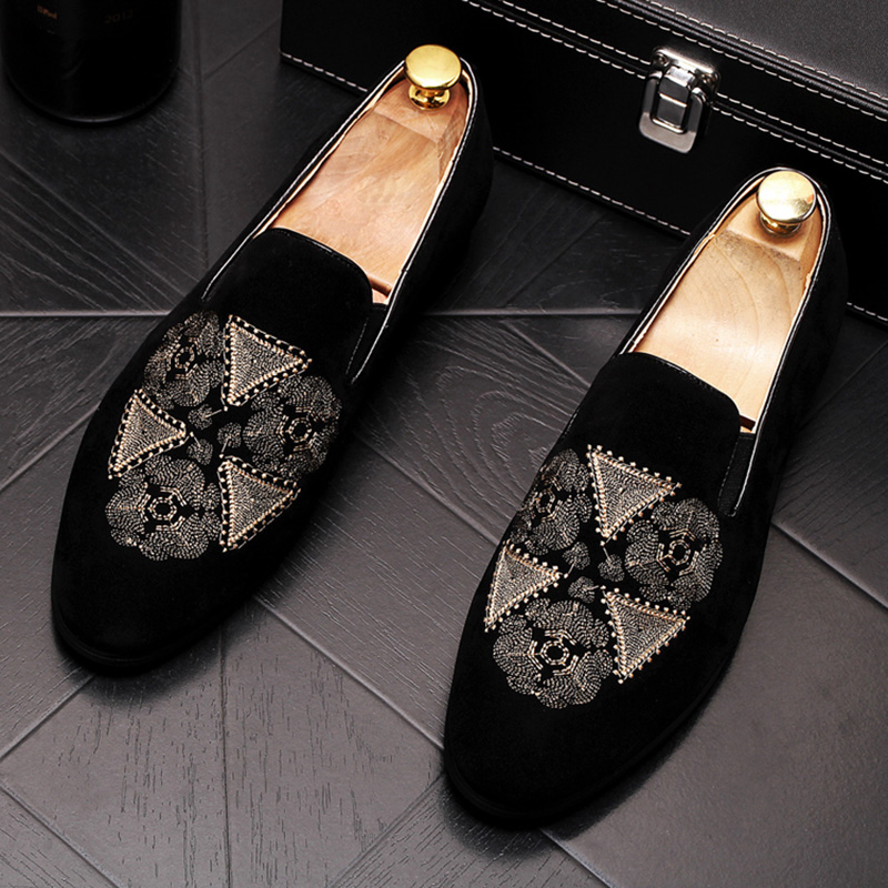 new arrival mens banquet prom wear velvet leather shoes embroidery slip on driving shoe black summer breathable loafers sapatos 1