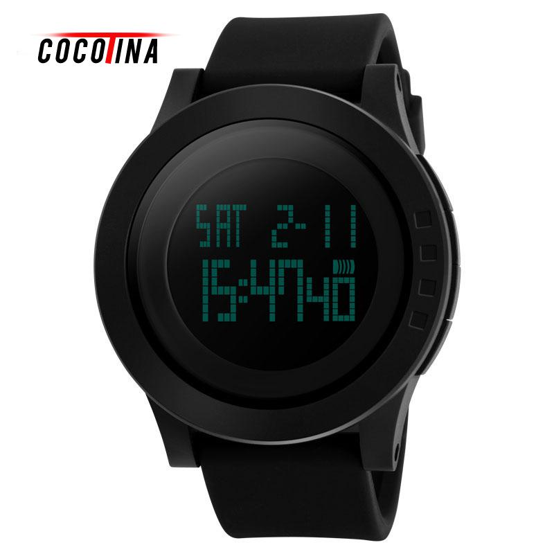 COCOTINA Black Men's electronic watch waterproof outdoor sports personality multifunctional fashion male student's Watch #WT0028 ezon outdoor sports for smart gps watches running male multifunctional 5atm waterproof electronic watch g1 black