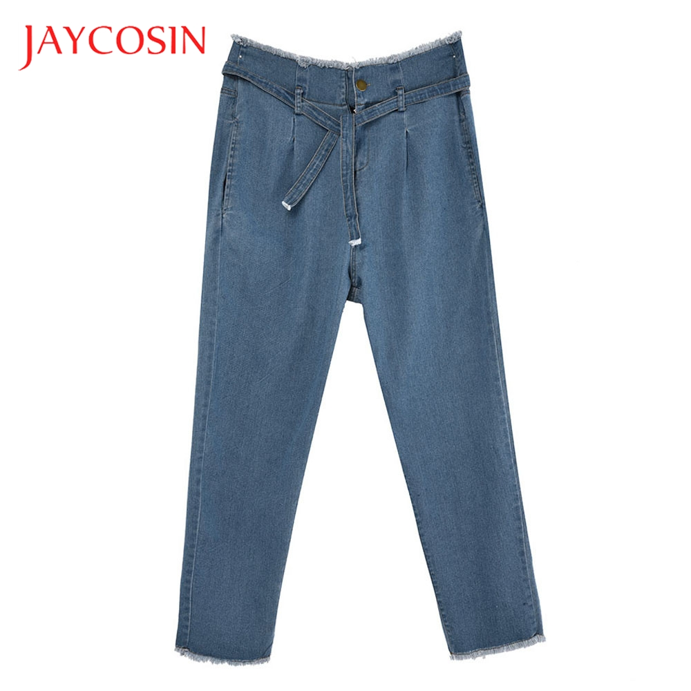 JAYCOSIN Hight Waisted Hole Women Loose Bow Bandage  Denim Jeans Stretch Pants Jean Occasion Party Club Daily Solid Pattern