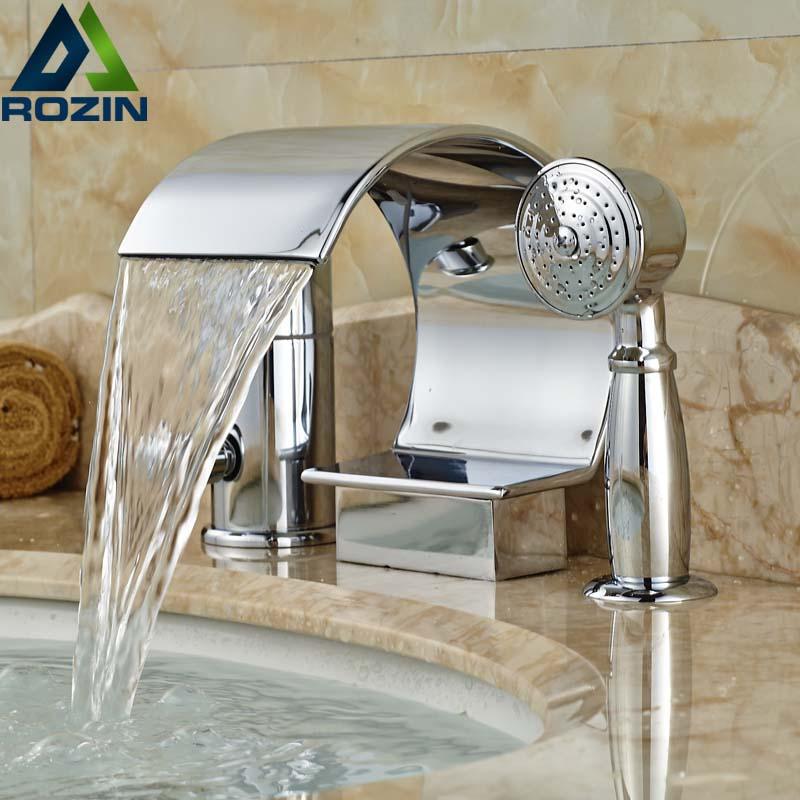 Deck Mount Curve Spout Waterfall Bathtub Faucet Single Handle 3pcs Bathroom Tub Mixer Taps