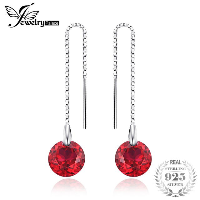 JewelryPalace Fashion 5.59ct Round Created Rubies Threader Earrings 925 Sterling Silver Fine Jewelry Party Long Earrings Women
