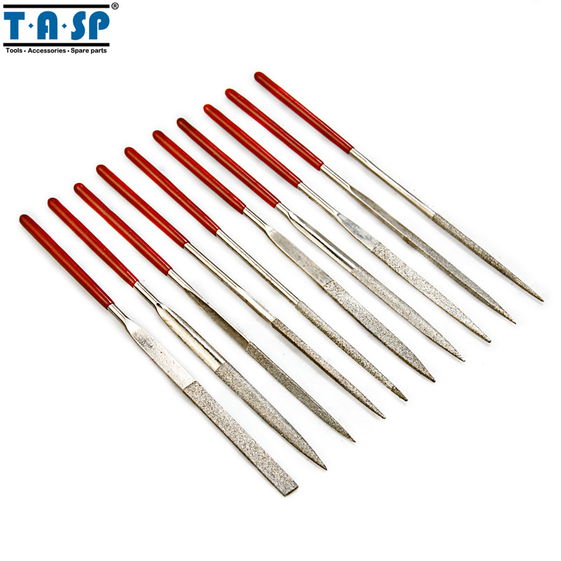 TASP 10PC 140mm Diamond Mini Needle File Set Handy Tools for Ceramic Glass Gem Stone Hobbies and Crafts 5pcs set needle files kit carving jewelry diamond glass stone wood craft tool s018y high quality