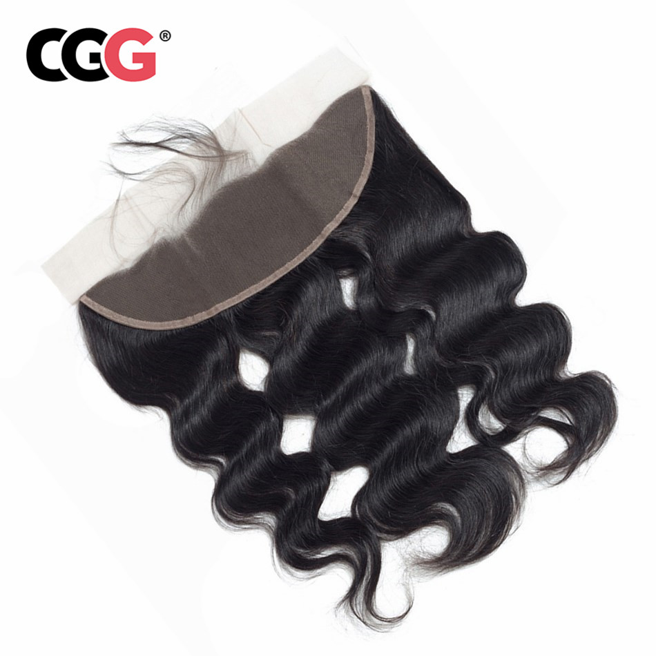 CGG 13X4 Lace Frontal Body Wave Human Hair Malaysia Non-Remy Human Hair Weaves Natural Color Sew In Hair Extensions 8-20 Inch