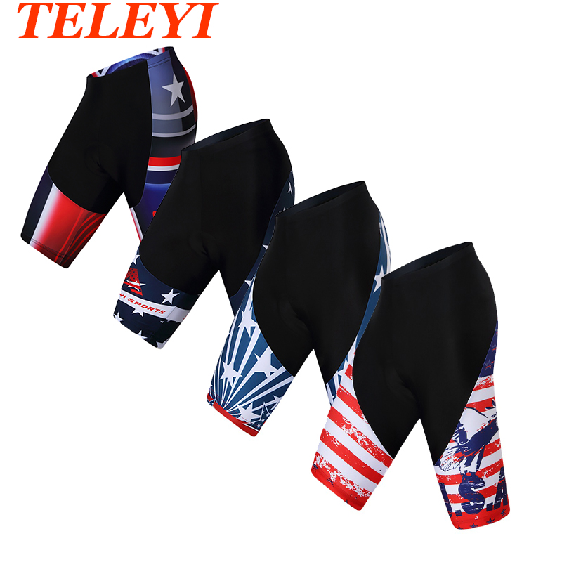 Teleyi USA Cycling Shorts Men Outdoor Sport Bike Shorts 3D Silicone Pad Breathable Riding Shorts Pants Tights 4-Types