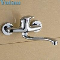 FREE SHIPPING Brass Chrome Taps For Kitchen Sink Kitchen Tap Dual Hole Wall Kitchen Mixer Kitchen