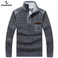SHANBAO 2018 winter plus velvet thick cotton warm men's business casual sweater zipper collar collar chest pocket men's sweater