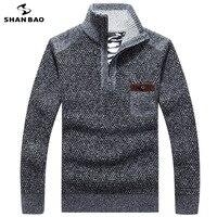 SHANBAO 2018 winter plus velvet thick cotton warm men's business casual sweater zipper collar collar chest pocket men's sweater