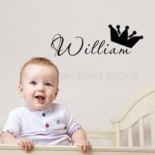 Персонализированная Наклейка на стену с любым именем принца для детей, мальчиков, для детской спальни, настенная наклейка, съемный декор детской комнаты, винил, Фреска AY1172