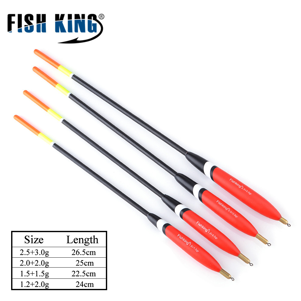 FISH KING 4Pcs/Pack 2.5+3.0g 2.0+2.0g 1.5+1.5g 1.2+2.0g Fishing Float Cork Bobbers Barguzinsky Fir Floats For Sea Fishing Tackle