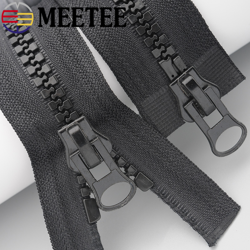 Meetee 8 # resina cremallera negro blanco doble deslizadores chaqueta bolso carpa toldo extremo abierto ropa de costura accesorios