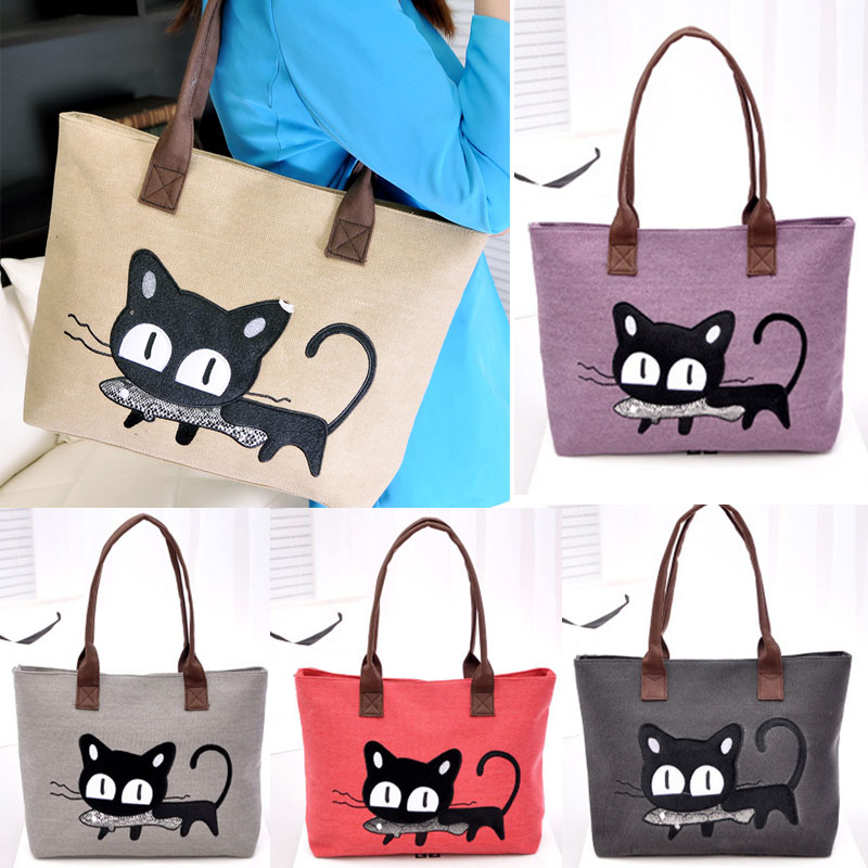 2016 Fashion Women Small Canvas Bag Cute Cat Bag Office Lunch Bag Women  Shoulder Handbag Ladies Bags mochila feminina 8f893241ae5f2