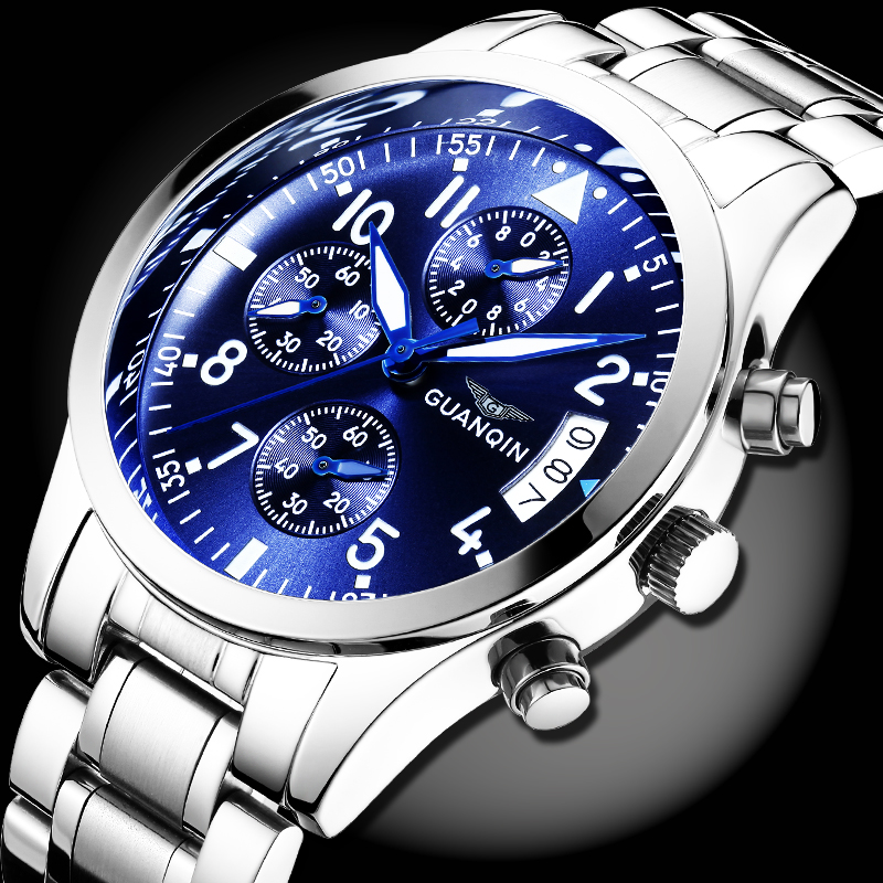 GUANQIN Mens Top Brand Luxury Watch Men Sport Full Steel Quartz Watch Man Fashion Luminous Wristwatch Male business clock hours new arrival ultrathin quartz watch luxury brand guanqin waterproof watch male casual clock hours men leather business wristwatch