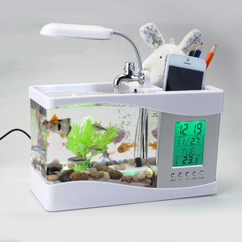 Livraison gratuite LED mini aquarium USB multi-fonction De Bureau Aquarium Creative Petit Fish Tank LCD Affichage Écran et Horloge