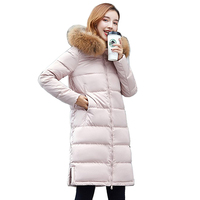 Real Raccoon Fur Collar 2018 New Fashion Winter Jacket Women White Duck Down Jacket Female Coat Outerwear Super Warm Long Parka