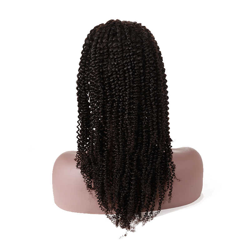 Ali kraliçe saç Kinky kıvırcık peruk 130% yoğunluk ön koparıp Hairline ile bebek saç Remy saç tam sırma insan saçı peruk