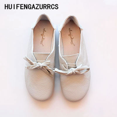 HUIFENGAZURRCS-Japanese women's art RETRO leather round flat sole shoes, pure handmade comfortable shoes, soft shallow shoes