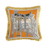 Luxury Horse Orange Blue Velvet Tassel Cushion Cover Printed 45x45cm Pillow Cover Pillowcase Home Decorative Sofa Throw Pillows