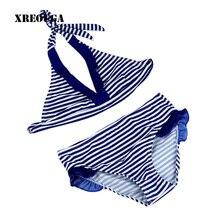 8-16Y Navy/Beach Baby Girl Bikini Swimsuits Child Bathing Set Stripe Halter Strap Falbala Swimwear Kids Biquini Infant GBSL01