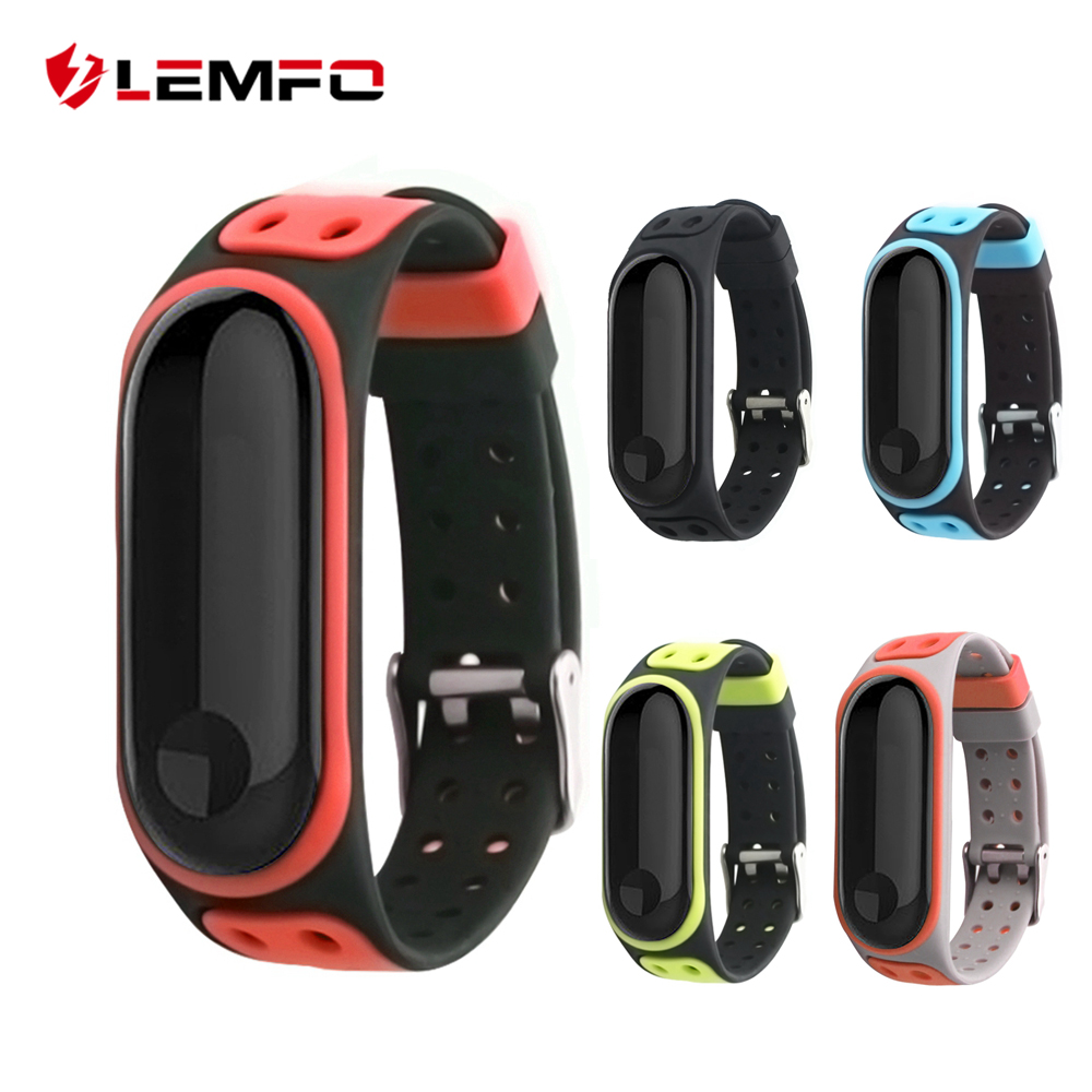 LEMFO Bracelet Mi-Band 3-Strap Silicone Double-Breasted Xiaomi for 3-strap/Replacement/Waterproof/..