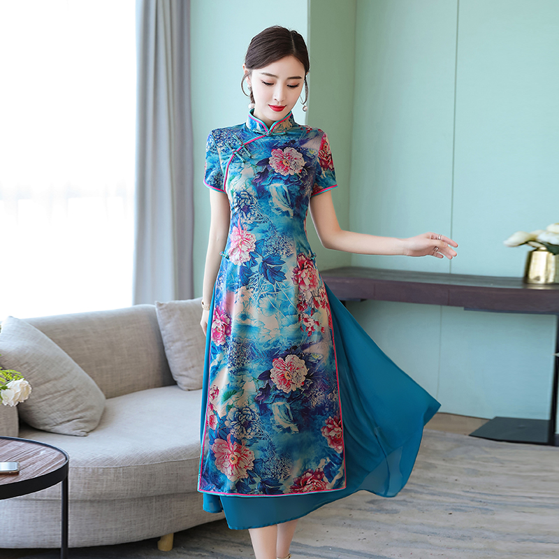 2019 Print Floral Summer Ao Dai Cheongsam For Women Plus Size S-4XL