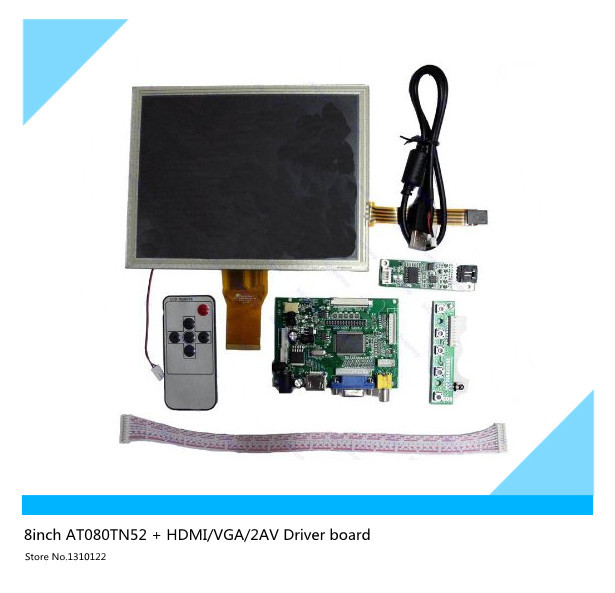 ФОТО 8inch AT080TN52 + HDMI/VGA/2AV Driver board +touch panel kit for Raspberry Pi
