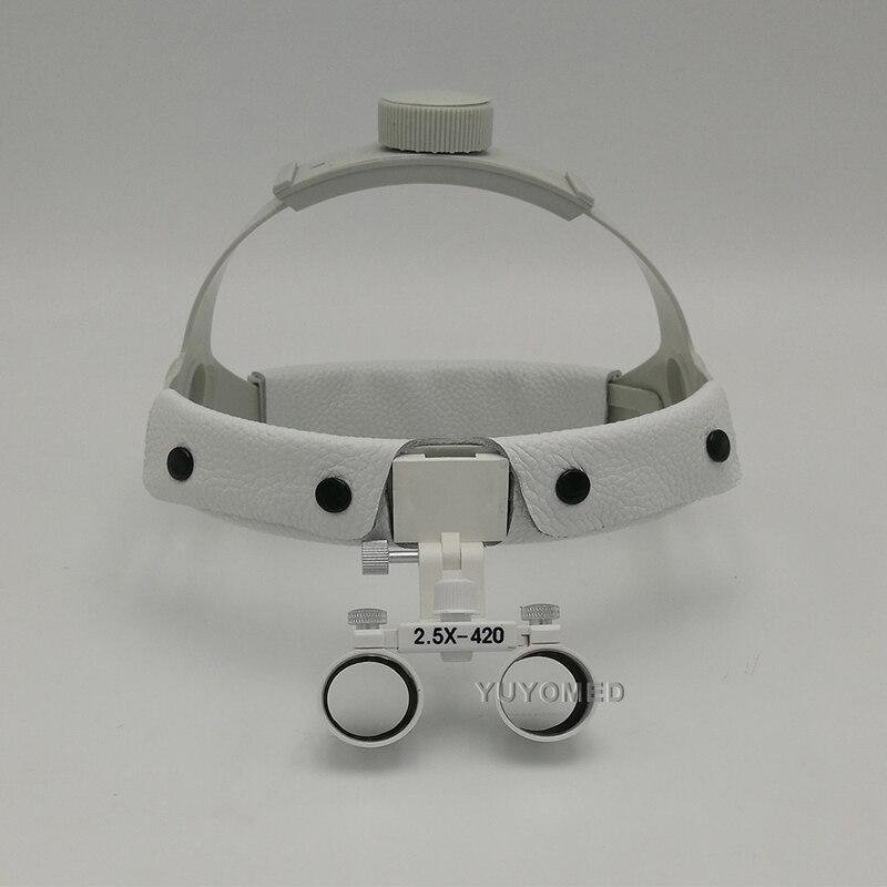 2 5X420 Headband Portable Dentist Surgical Medical Binocular Dental Loupe Optical Glass with LED Head Light