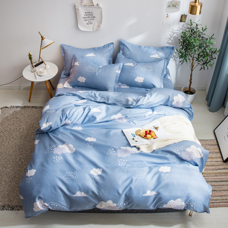 Cartoon Cloud Duvet Cover 3/4 Pcs Bedding Set Adult Kids Child Soft Skin Bed Linen Single Full Double Queen King Size Bedclothes