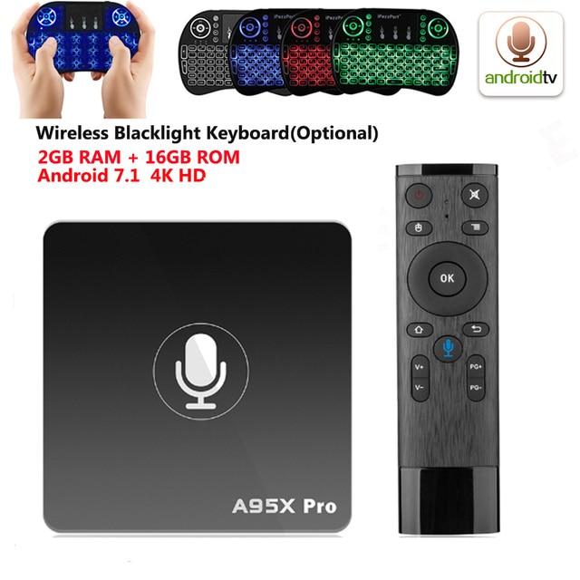 A95X Pro Android 7.1 TV Box Quad Core Amlogic S905W H.265 2 GB 16 GB 2.4 GHz WiFi 4 K HD Phương Tiện Truyền Thông Máy Nghe Nhạc Điều Khiển Bằng Giọng Nói Thông Minh TV Box