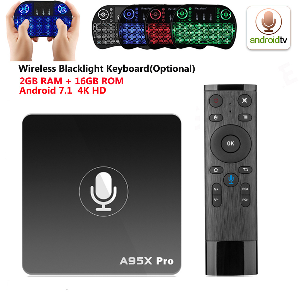 цена на A95X Pro Android 7.1 TV Box Quad Core Amlogic S905W H.265 2GB 16GB 2.4GHz WiFi 4K HD Media Player Voice Control Smart TV Box