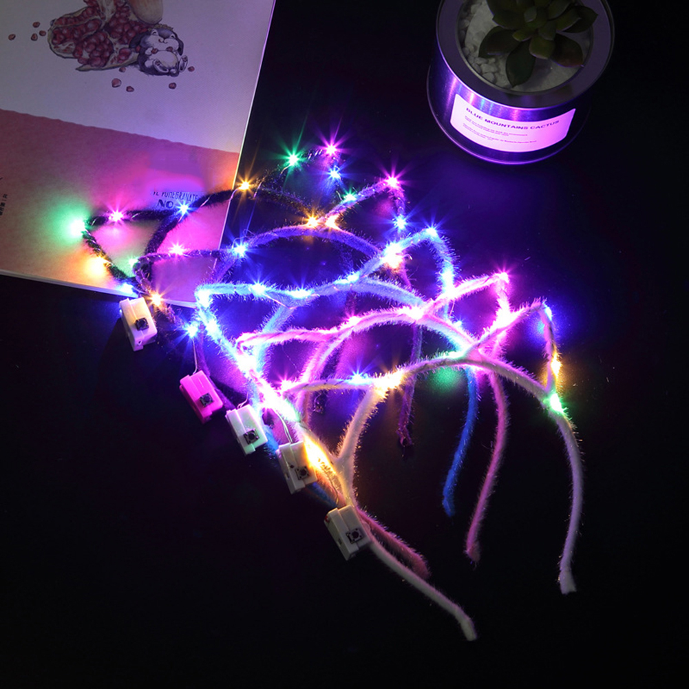 Glowing Cat Ears Adult Headdress Children's Flashing Garland With Lights Rabbit Ears Cute Hair Hoop