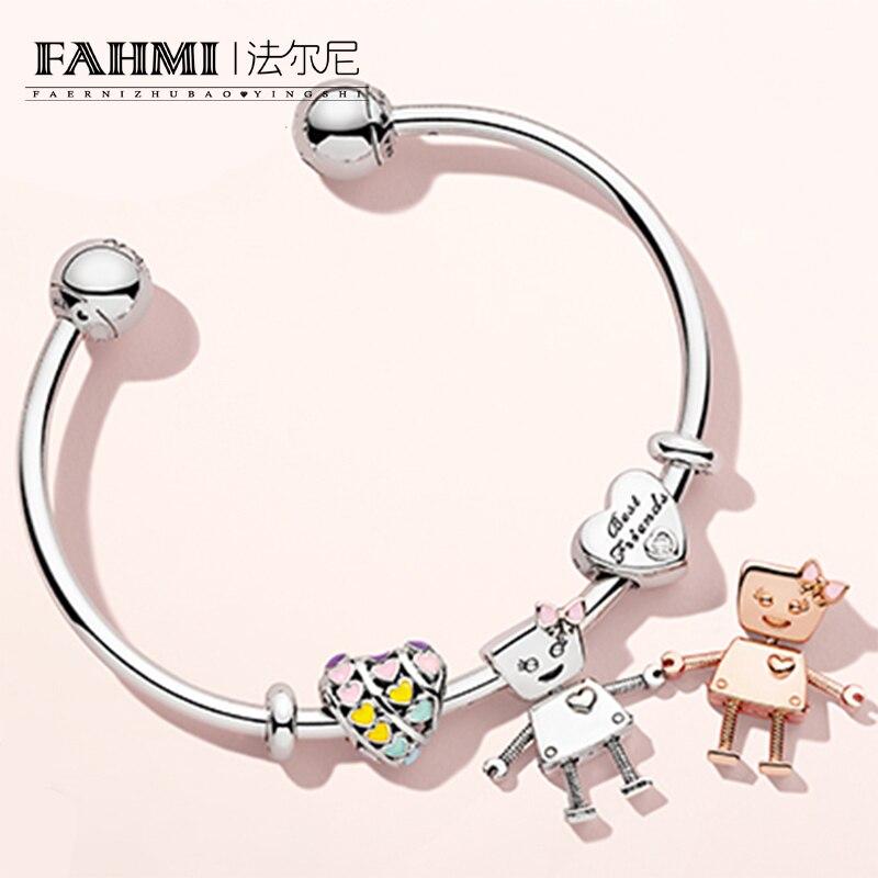 FAHMI 100% Sterling Silver Brand New 1:1 Friend Bracelet Set Sun Robot Bracelet Set