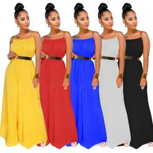 New style African Women clothing Dashiki fashion elastic Pure color Hanging strip jumpsuit There is no belt size S-3XL(China)