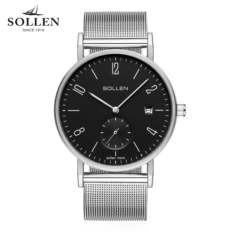 New Classic Simple Style Men Watches Quartz Men Milanese Bands Luxury Man Business Relogio Masculino SOLLEN Brand Watch Silver classic simple star women watch men top famous luxury brand quartz watch leather student watches for loves relogio feminino