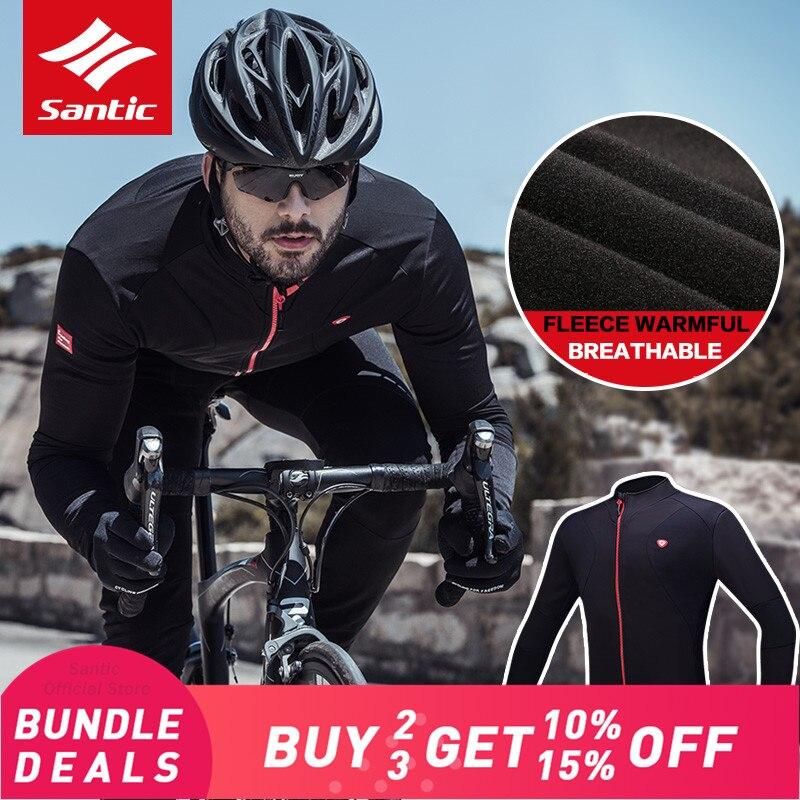 Santic Cycling Jerseys Men Thermal Fleece Long Sleeve Cycling Jacket Outdoor Windproof Full Zipper M 5XL