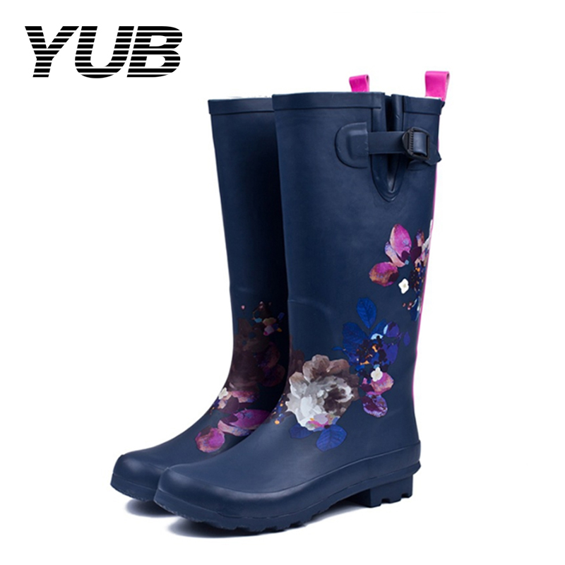 YUB Brand Women's Knee-High Rain Boots with Traditional Print Flower Design Waterproof Winter Boots Women Size 6-9 yub brand waterproof rain boots for women with solid color slip on winter mid calf shoes for girls