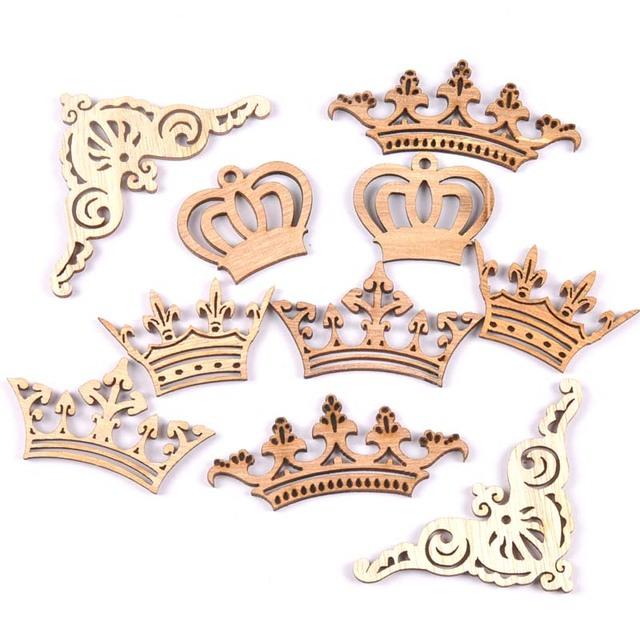 crown lace corner Pattern HandMade Natural Wooden Scrapbooking Diy Craft  Home decoration handicraft 10pcs MT1854 3a4b540c0040