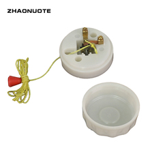 2pcs White Wall Switch Hand Pull Line On/off Pull Rope Thick Beside Light Switch Surface Mount Round sound activated on off switch by hand clap 110v electronic gadget white