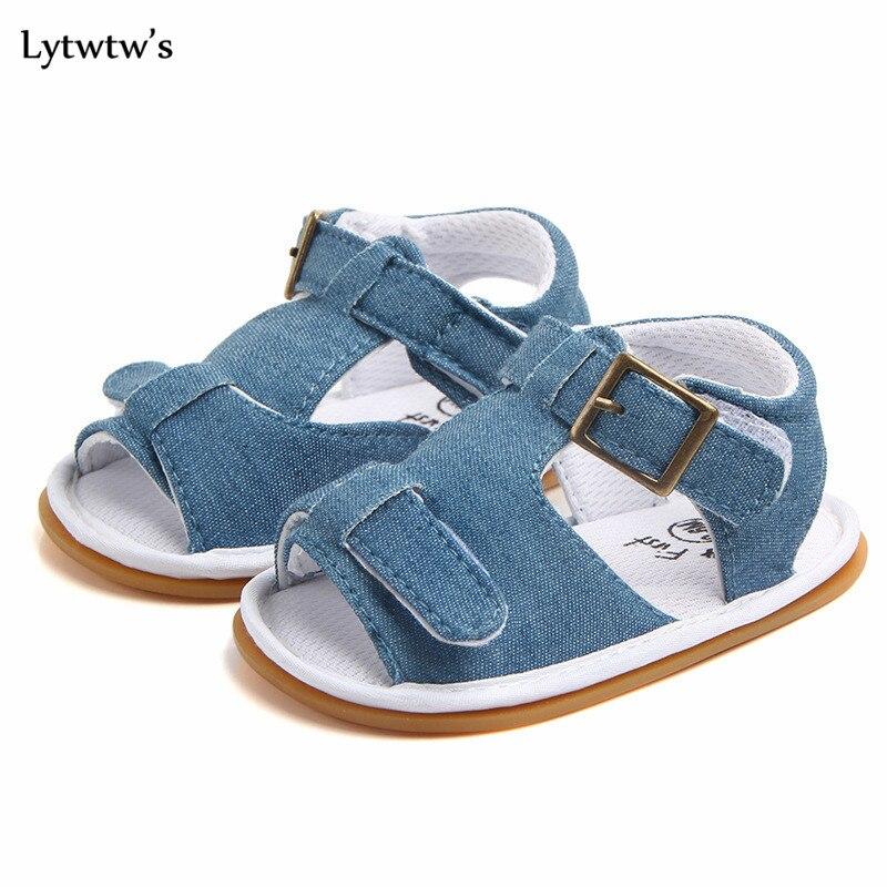 1 Pairs Lytwtws Kids Girls Boys Summer Kawaii Solid First Walkers Newborn PU Baby Toddlers Shoes Children